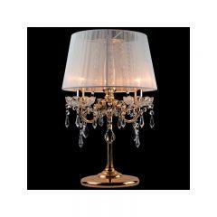 IZABEL Lampa stołowa z abażurem 3 płom. złota/biała EUROSTAR 2045/3 T GD/WT