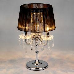IZABEL Lampa stołowa z abażurem 3 płom. chrom/czarna EUROSTAR 2045/3T CH/BL