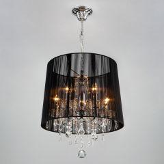 IZABEL Lampa wisząca z abażurem 5 płom. chrom/czarna EUROSTAR 2045/5 CH/BL