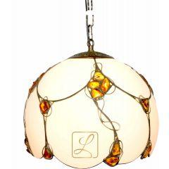 Lampa zwis 1 płomienny szkło z bursztynem G10-W