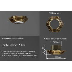 Lampa oczko wpuszczane z1096 oprawka retro mosiądz włoski ICARO
