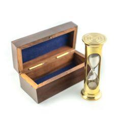 Mosiężna klepsydra  ROUND STP99 w pudełku drewnianym, ok. 3 minuty