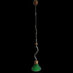 Lampa wisząca 1 płomienna Stożek fala klosz zielony E14 HPlampy