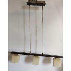 Lampa wisząca 3 płomienna Cordo brązowa klosz kremowe murano E14 Icaro