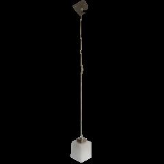 Lampa wisząca 1 płomienna Kostka srebrna klosz biały E27 Icaro