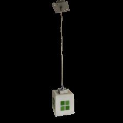 Lampa wisząca 1 płomienna Kostka klosz biały, zielony dekor E27 Icaro