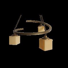 Lampa wisząca 3 płomienna Corte złota klosze kremowe E14 Icaro