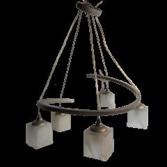 Lampa wiszaca 5 płomienna Corte srebrna klosze białe E14 Icaro