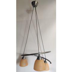 Lampa wisząca 3 płomienna Spirala grafit klosz tulipan pomarańczowy E27 HPlampy