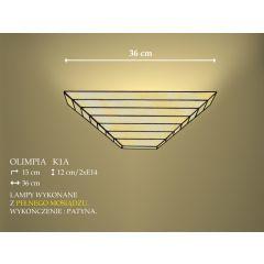 Lampa kinkiet 2 płom. Olimpia klosz witrażowy beżowy K1AD ICARO