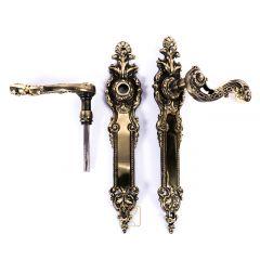 Klamki do drzwi HAMBURG, szeroka klamka elegancki szyld. Mosiądz, produkt polski