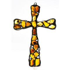 Krzyż wiszący Bursztyn K5. Ażurowe wykonanie