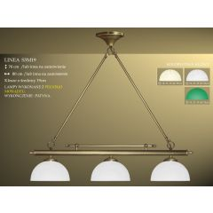 Lampa bilardowa 3pł. Linea S3M19 klosz Ø 19cm biały ecru zielony IKARO