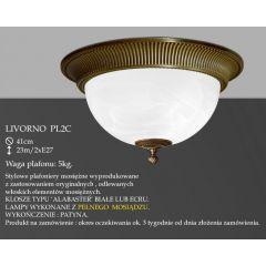 Lampa plafon Livorno Ø 41cm PL2 C klosz alabaster biały IKARO