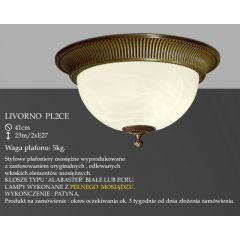 Lampa plafon Livorno Ø 41cm PL2 CE klosz alabaster ecru IKARO