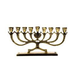 Świecznik żydowski MENORA mały, 9 ramienny, mosiądz