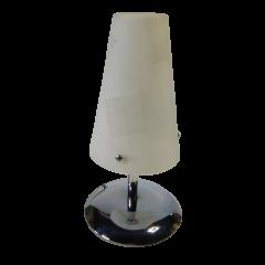 Lampa stołowa chrom klosz biały Volta