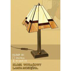 Lampa stołowa 1 płom. Olimp klosz witrażowy 24cm beżowo brązowy B1 ICARO
