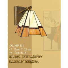 Lampa kinkiet 1 płom. Olimp klosz witrażowy 17cm beżowo brązowy K1 ICARO