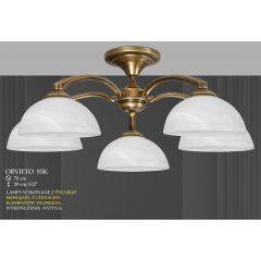 Lampa wisząca 5 ramienna krótka ORVIETO klosz biały krem S5K ICARO