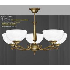 Lampa żyrandol 5 płom. odwrotny Oviedo klosz alabaster Ø 19cm biały krem S5A ICARO