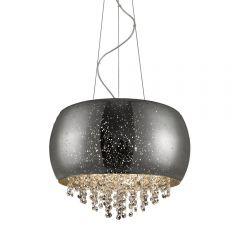 Vista Lampa wisząca z kryształkami 5 płom. srebrnoszara Zuma Line P0076-05K-F4GR