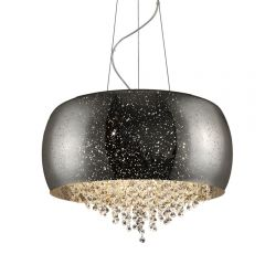 Vista Lampa wisząca z kryształkami 6 płom. srebrnoszara Zuma Line P0076-06K-F4GR