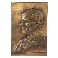 Papież Jan Paweł II płaskorzeźba Mosiądz