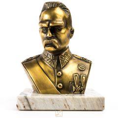 Marszałek Józef Piłsudski duże popiersie Mosiądz, marmurowy cokół. Produkt cyzelowany!