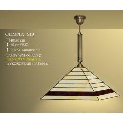 Lampa wisząca 1 płom. Olimpia klosz witrażowy 40cm beżowo brązowy S1B ICARO