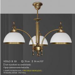 Lampa żyrandol 3 płomienny Stilo R klosz opal Ø 20cm biały krem RS3 RS3E ICARO