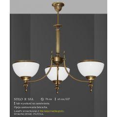 Lampa żyrandol 3 płomienny odwrotny Stilo R klosz opal Ø 20cm biały krem RS3A RS3AE ICARO