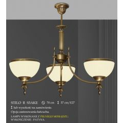 Lampa żyrandol 3 płomienny odwrotny Stilo R klosz opal Ø 20cm biały krem RS3AK RS3AKE ICARO