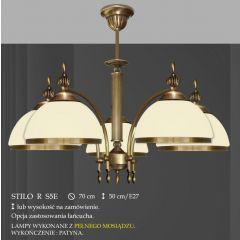 Lampa wisząca 5 płomienna Stilo R klosz opal Ø 20cm biały krem RS5 RS5E ICARO