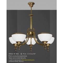 Lampa żyrandol 5 płomienny odwrotny Stilo R klosz opal Ø 20cm biały krem RS5A RS5AE ICARO
