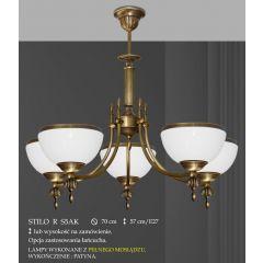 Lampa żyrandol 5 płomienny odwrotny Stilo R klosz opal Ø 20cm biały krem RS5AK RS5AKE ICARO