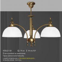 Lampa żyrandol 3 płom. Stilo klosz alabaster Ø 19cm biały krem S3 ICARO