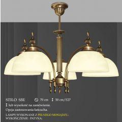 Lampa żyrandol 5 płom. Stilo klosz alabaster Ø 19cm biały krem S5 ICARO