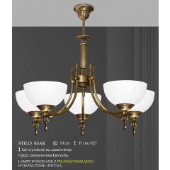 Lampa żyrandol 5 płom. odwrotny Stilo klosz alabaster Ø 19cm biały krem S5AK ICARO