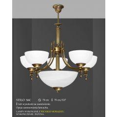 Lampa żyrandol 7 płom. odwrotny Stilo klosz alabaster Ø 19cm boczne Ø 35cm środek biały krem S6C ICARO