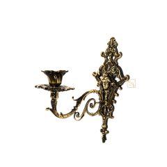 Świecznik KOBIETA na ścianę, dekoracyjny kinkiet na 1 świeczkę, Mosiądz