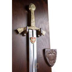 SZCZERBIEC miecz koronacyjny wersja matowa + drewniane tablo. Prezent dla kolegi