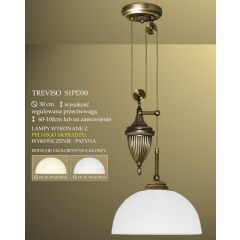 Lampa żyrandol 1 płom. z przeciwwagą Treviso klosz alabaster Ø 30cm biały krem S1PD ICARO