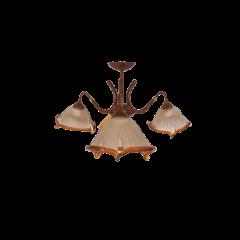 Lampa plafon 3 płomienny brązowa klosze fusing Luminex