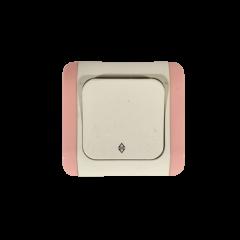 Włącznik schodowy Vi-Ko biały z różowymi bokami