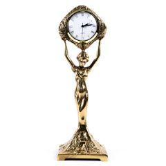 Zegar mosiężny PANNA SMUKŁA, funkcjonalny prezent. Mosiądz